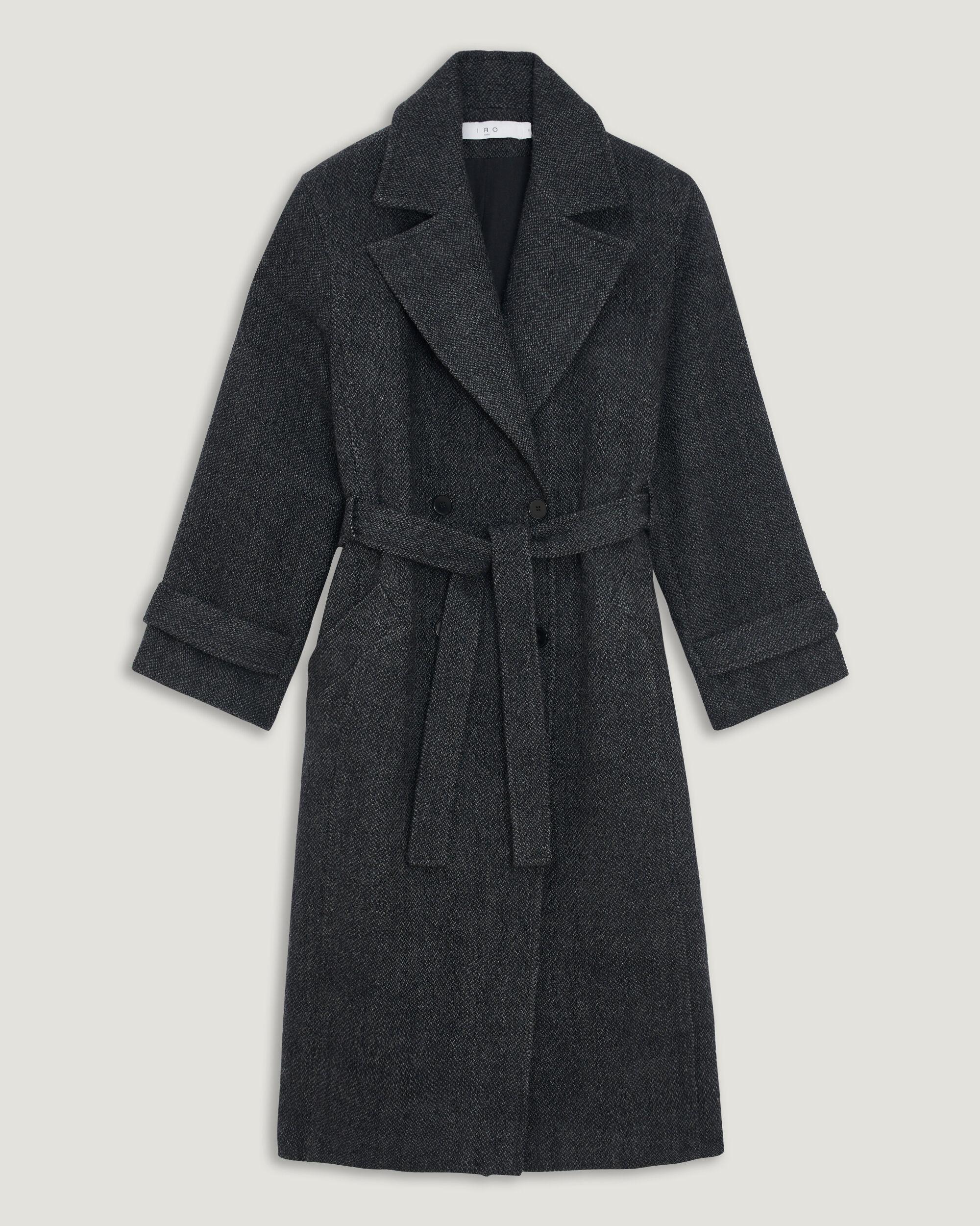 이로 트렌치 코트 IRO VIBI LONG BELTED WOOL TRENCH COAT,BLACK/GREY
