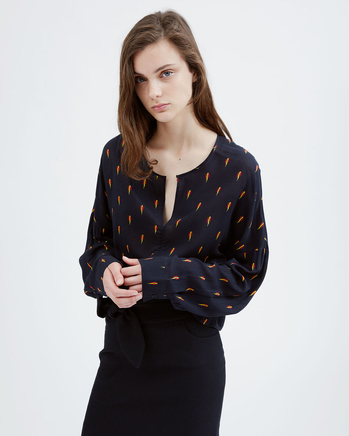 IRO - DISJA BLOUSE BLACK/RED