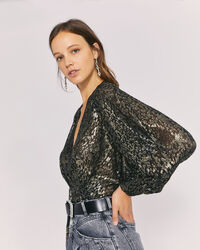 IRO - TERUJA METALLIC V NECK BLOUSE TOP BLACK/GOLD
