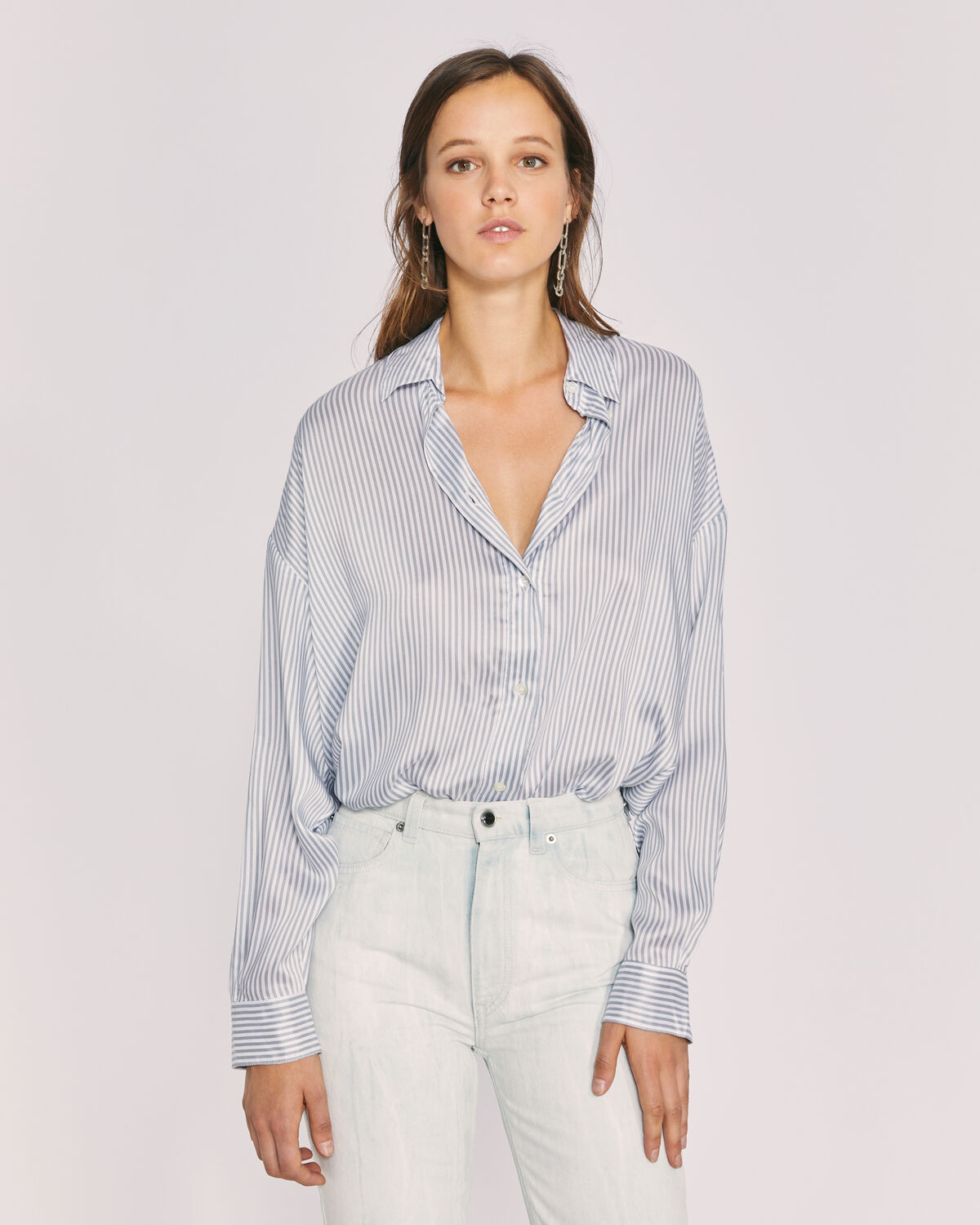 IRO - MIXO SHIRT ECRU/GREY