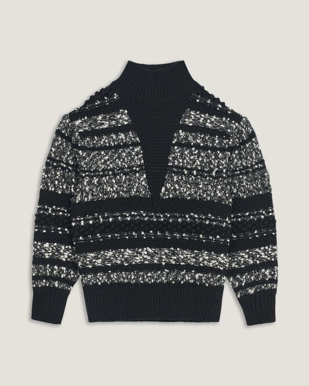 IRO - PULL RAYÉ COL MONTANT ALPACO BLACK/WHITE