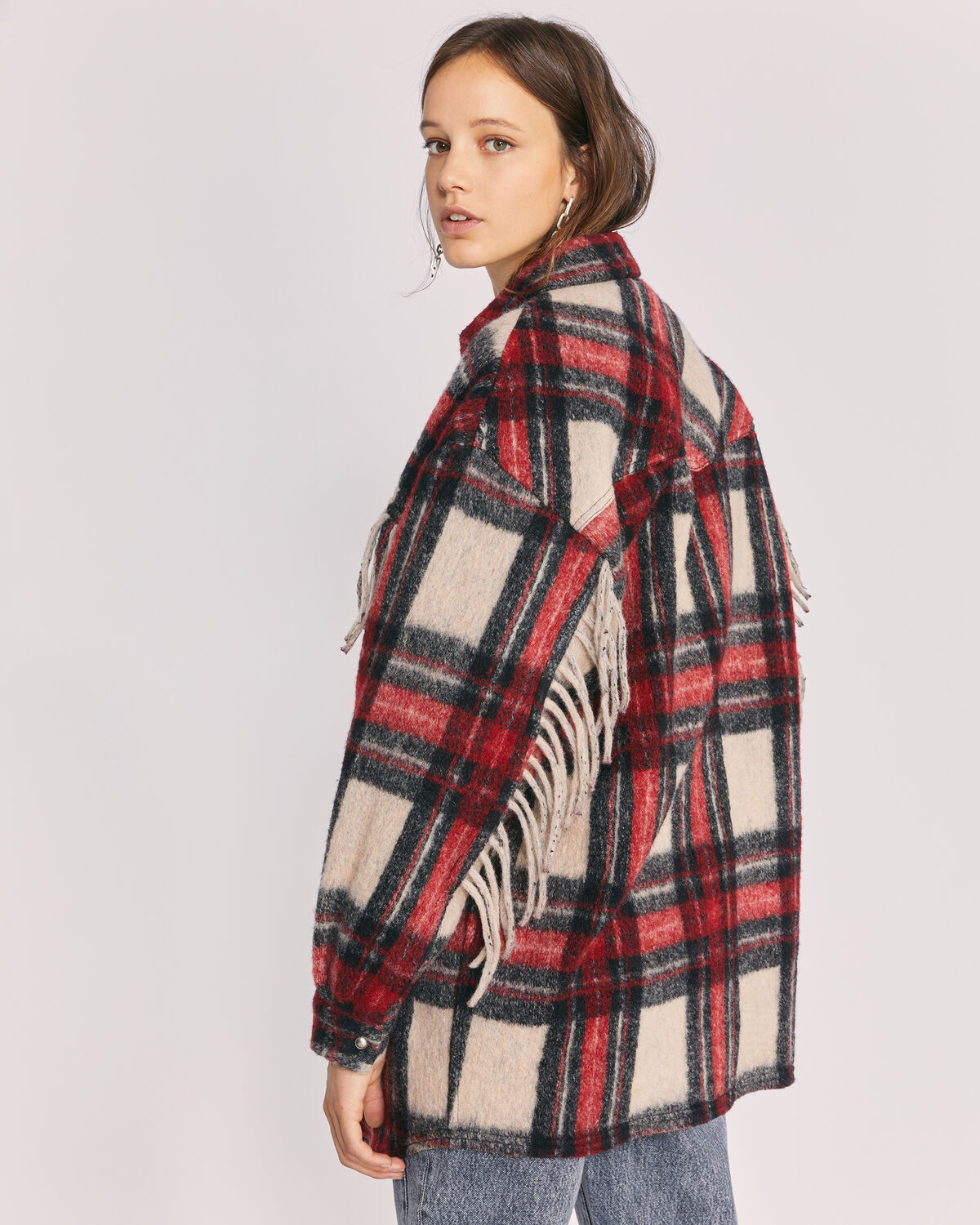 IRO - COCHA COAT BLACK/RED/ECRU
