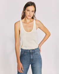 IRO - AMELY SCOOP NECK THIN STRAP TANK TOP ECRU