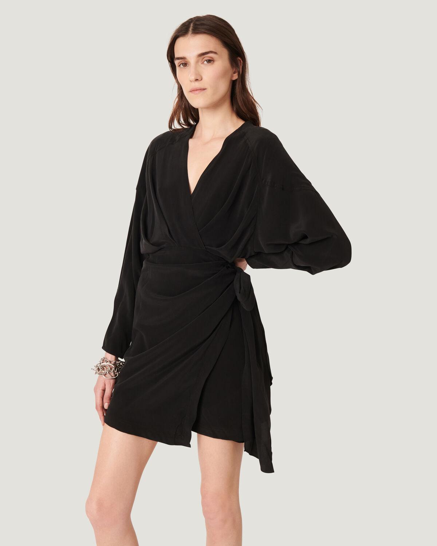 IRO - INIMA DRAPED SILK WRAP DRESS  BLACK