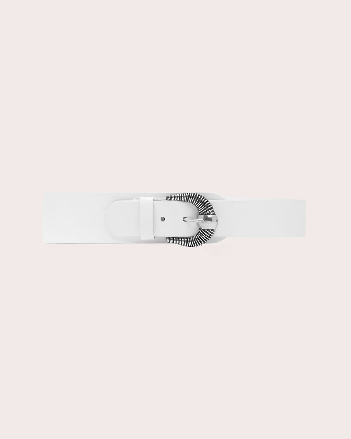 IRO - CROSBY THICK ASYMMETRICAL LEATHER BELT WHITE