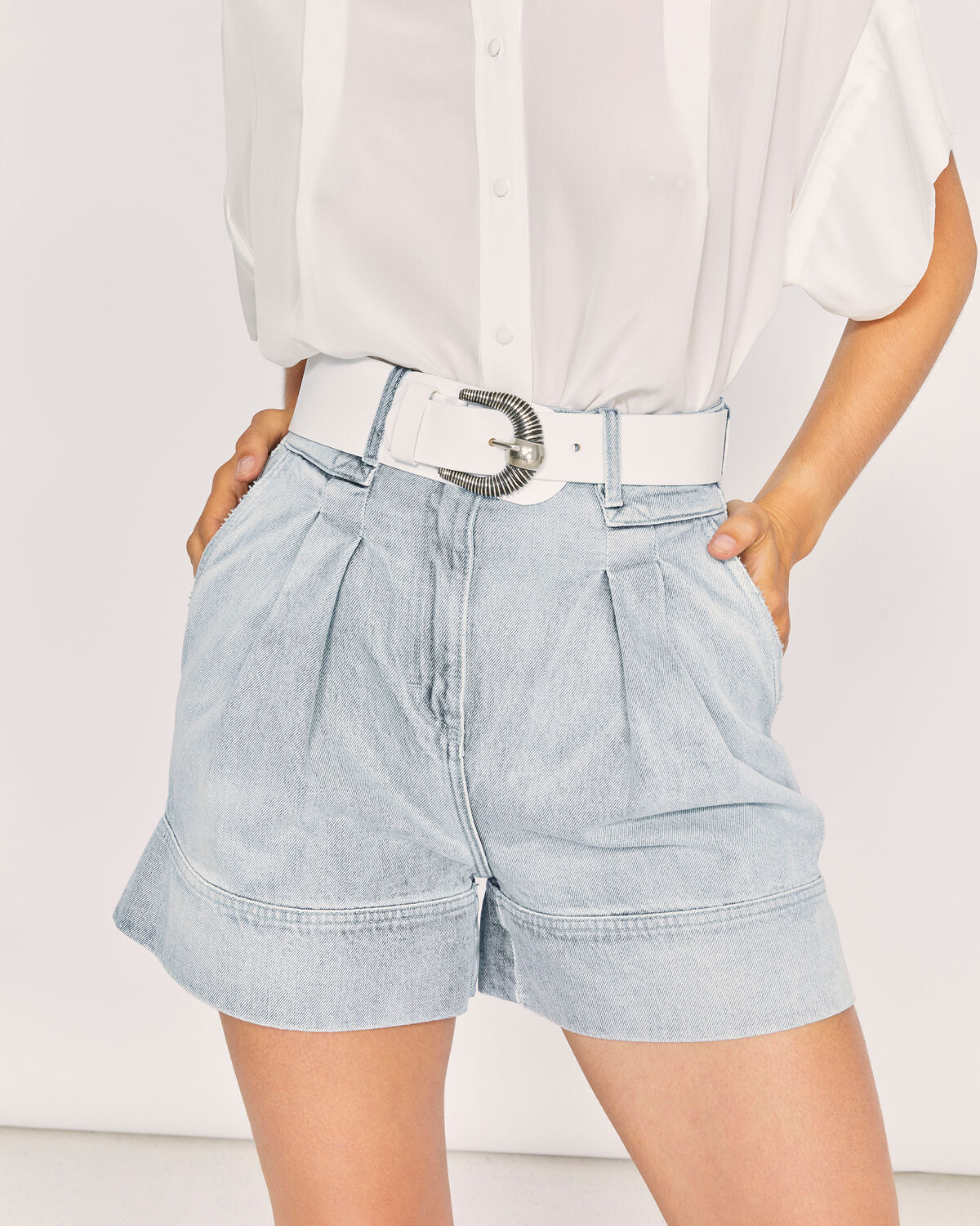 IRO - FINTRY HIGH WAIST WIDE LEG DENIM SHORTS LIGHT USED