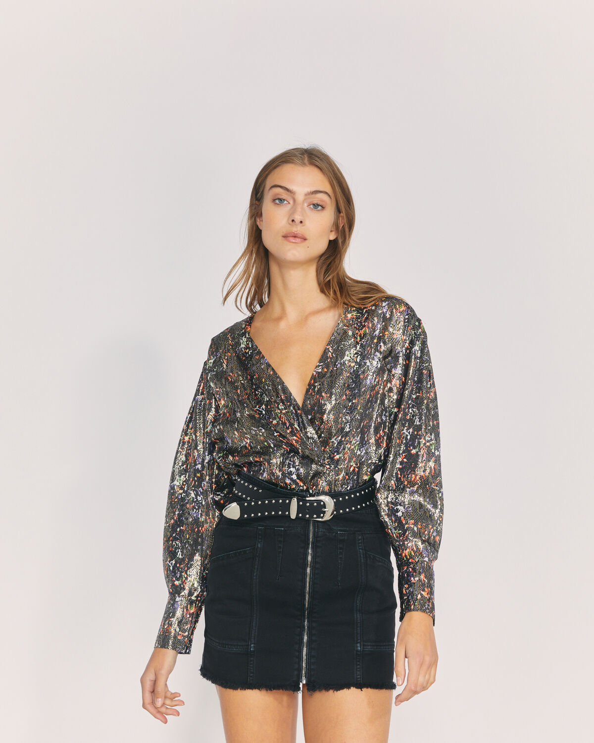 IRO - MILANA METALLIC PRINTED TOP BLACK MULTICO