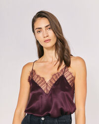 IRO - BERWYN SILK & LACE CAMISOLE TOP BURGUNDY