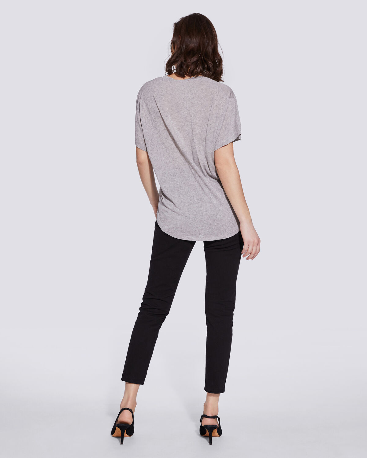 IRO - T-SHIRT DÉCOLLETÉ GRIS CHINÉ RAMAZA MIXED GREY