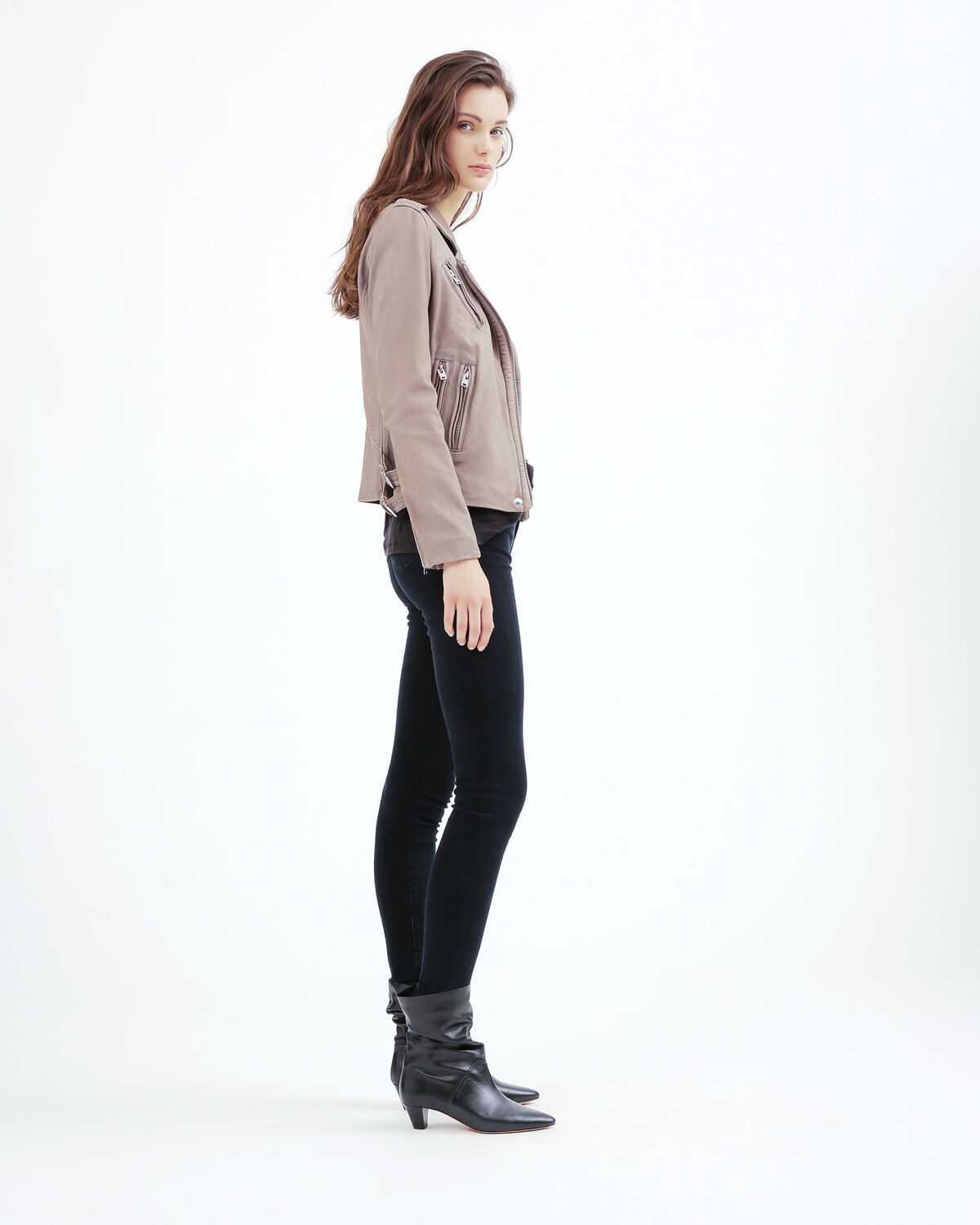 IRO - HAN LEATHER JACKET TAUPE