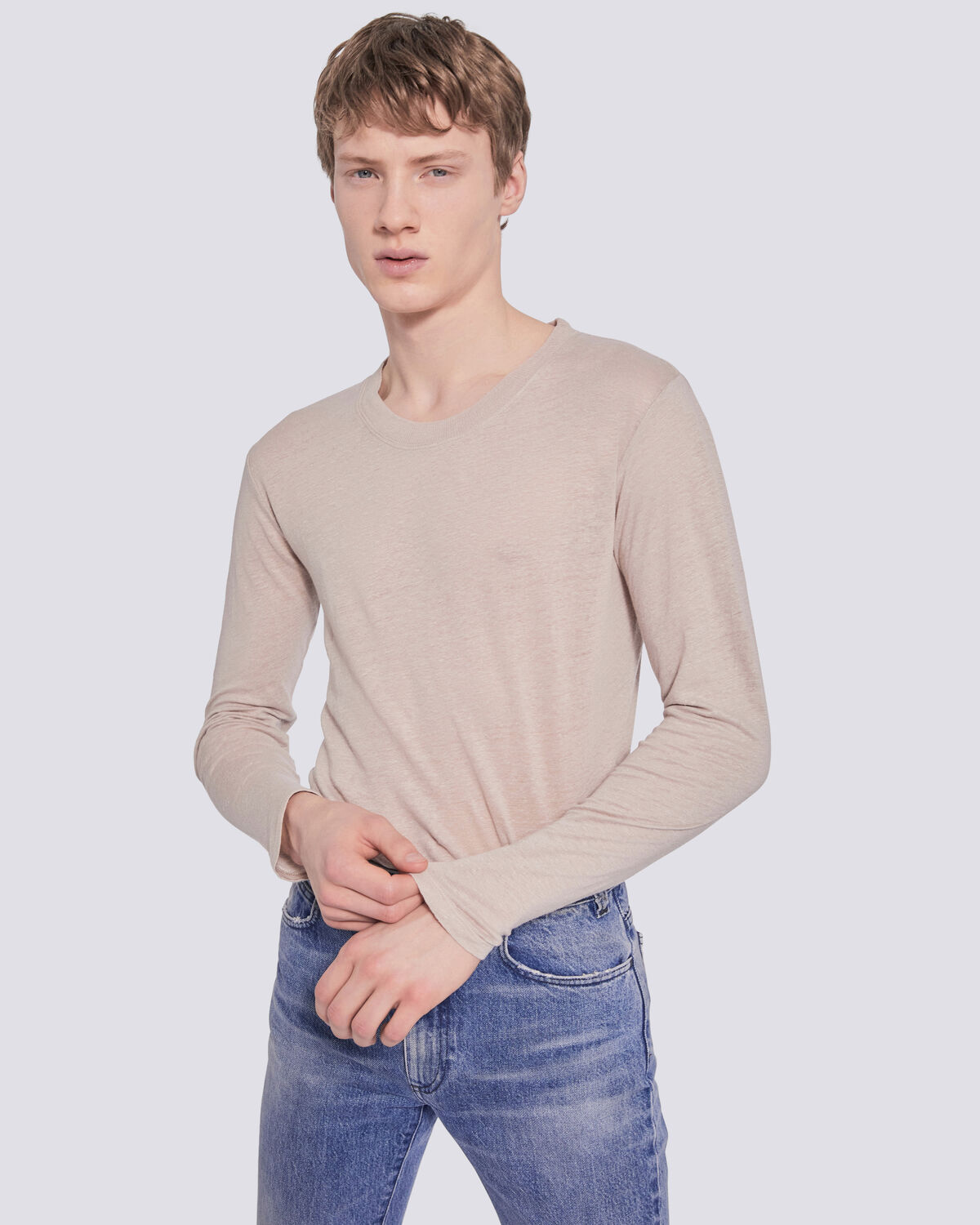 IRO - JALAPA LONG SLEEVE CREW NECK T SHIRT BEIGE/STONE GREY