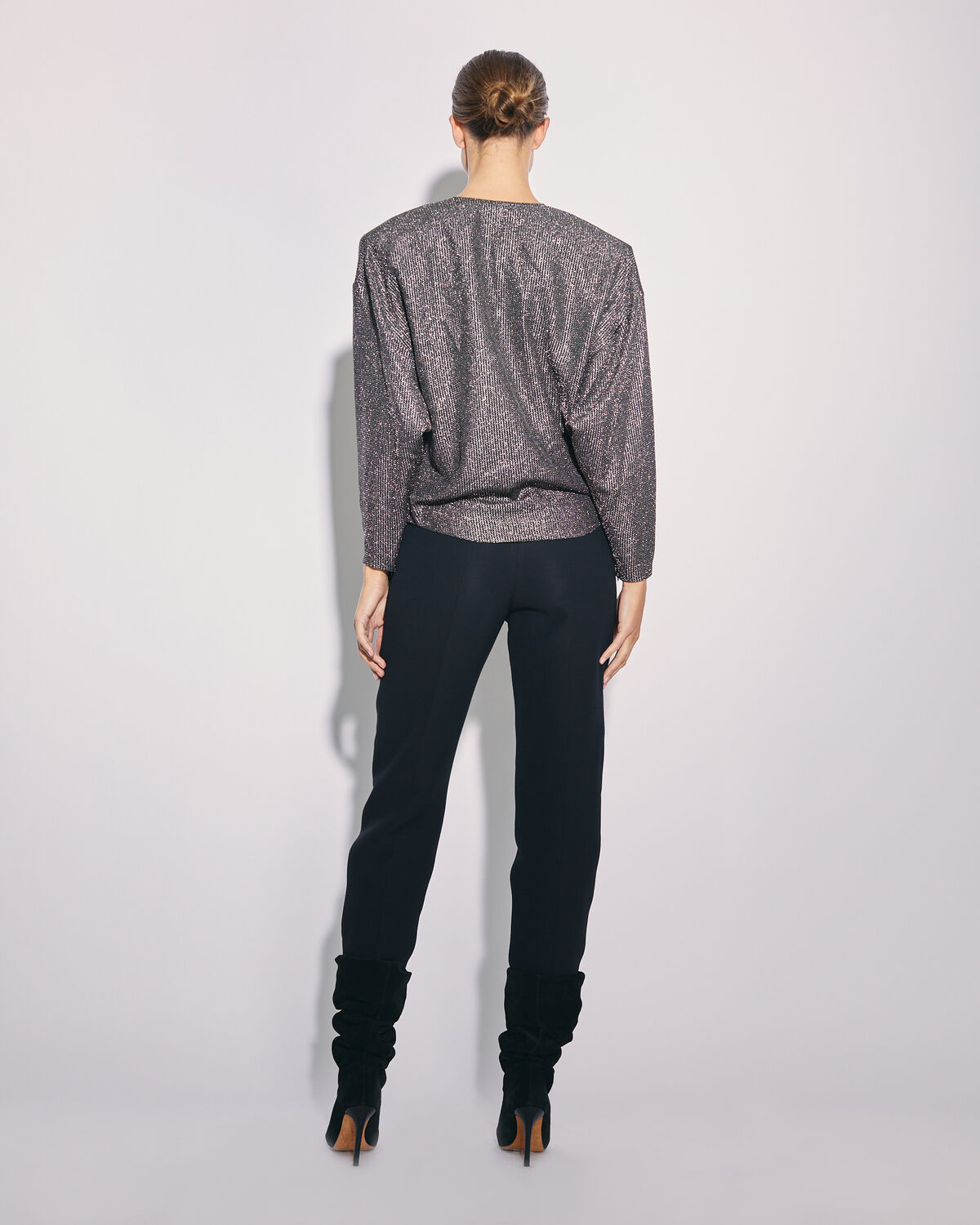 IRO - BANJO METALLIC KNIT V NECK TOP BLACK/SILVER