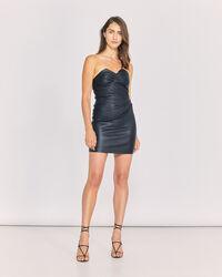 IRO - VALANA STRAPLESS LEATHER DRESS BLACK
