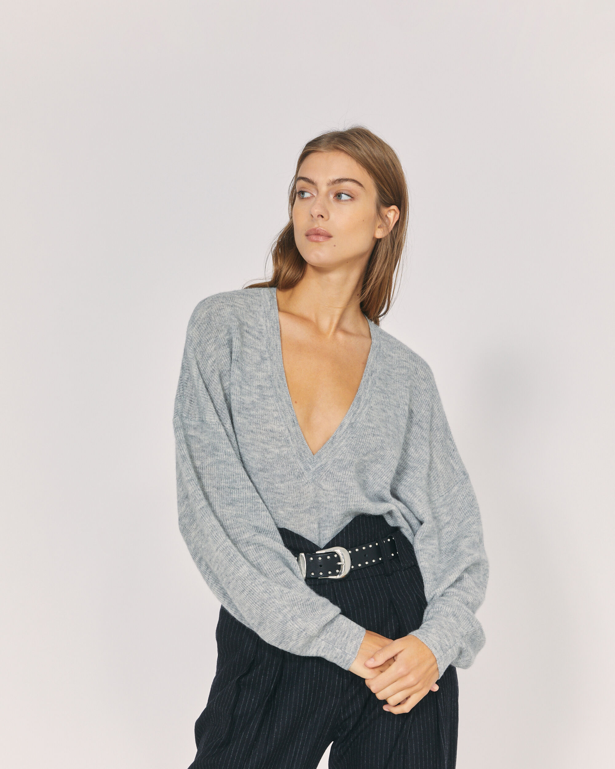 IRO ELECTRA SWEATER,MIXED GREY
