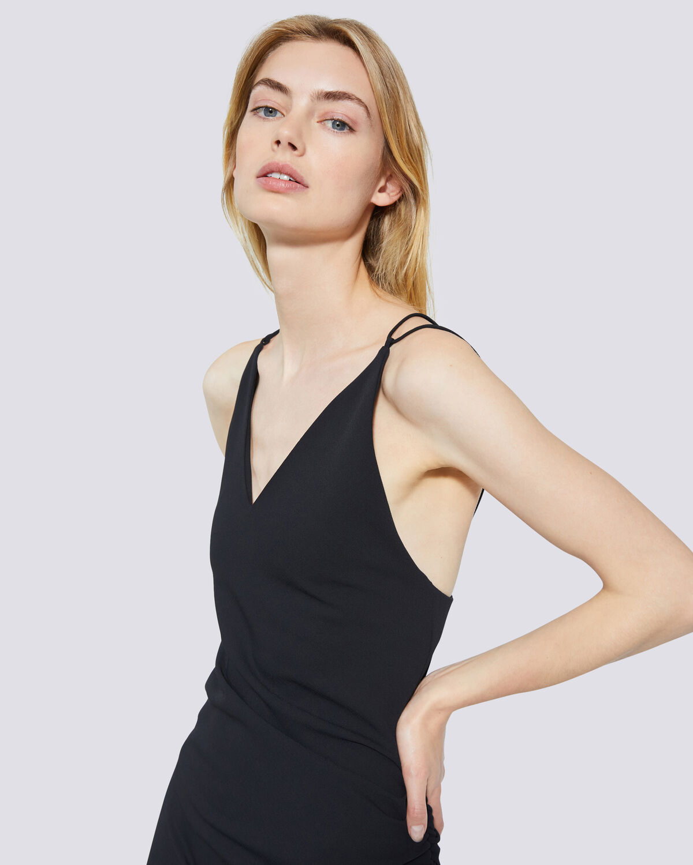 IRO - CLODY ASYMMETRIC BACKLESS SPAGHETTI STRAP DRESS BLACK