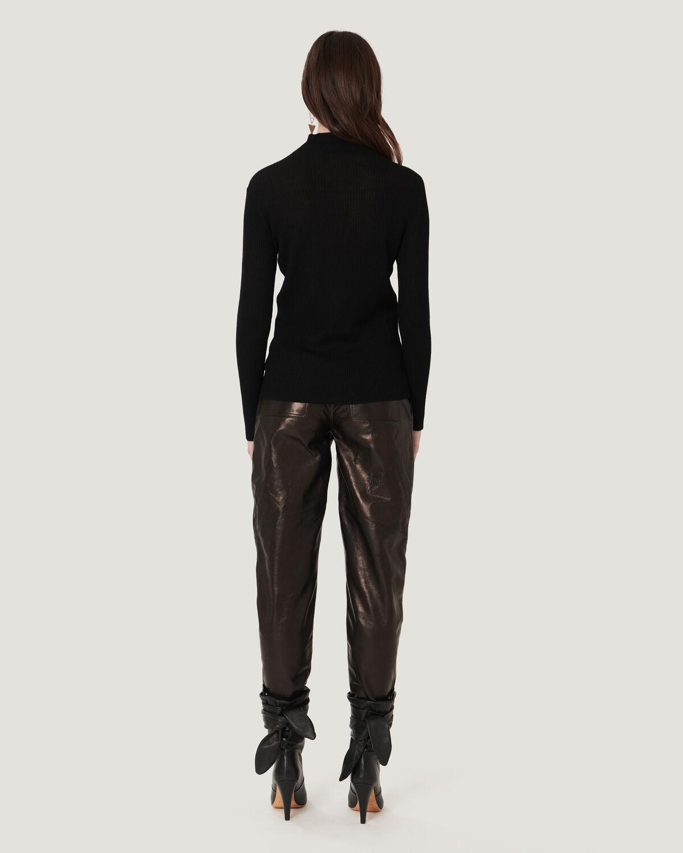 IRO - ELISANE MOCK NECK RIBBED SWEATER BLACK