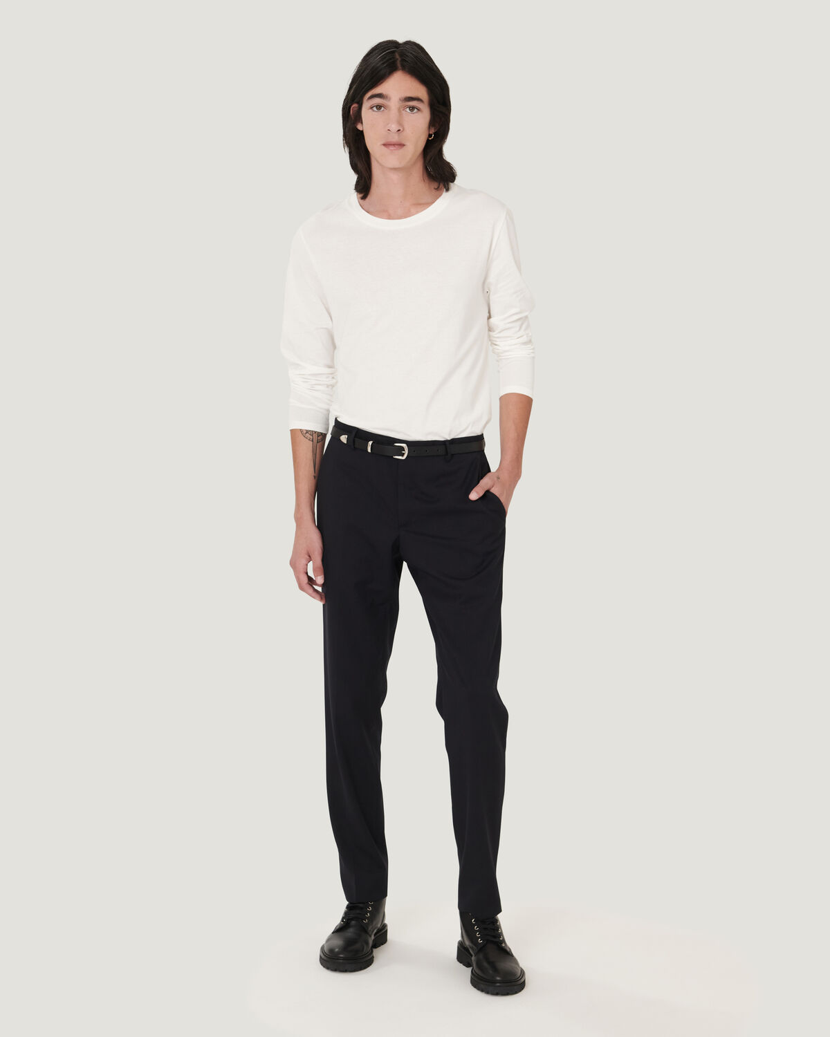 IRO - T-SHIRT EN COTON MANCHES LONGUES TERENCE OFF WHITE