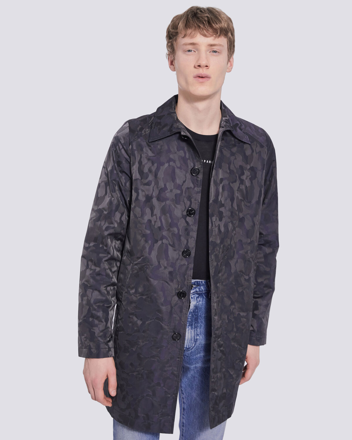 IRO - MORRHIS CAMO PRINT BUTTON DOWN COAT NAVY CAMOUFLAGE