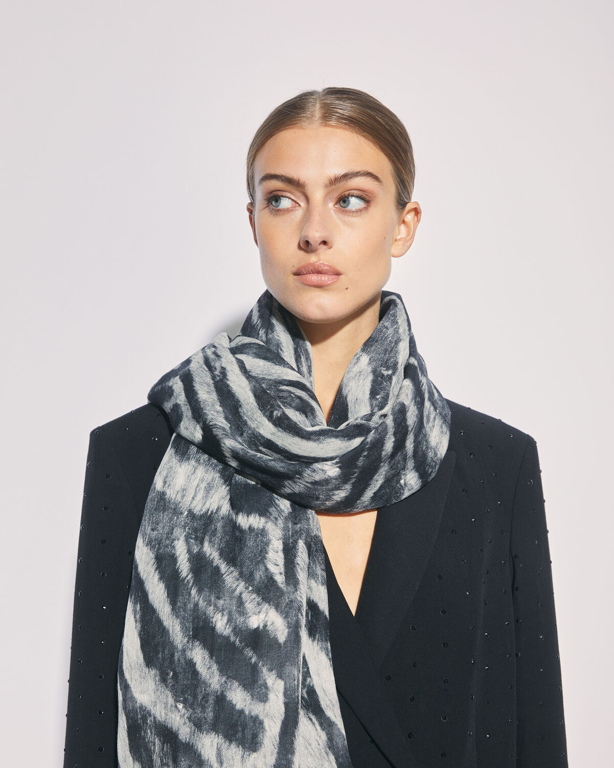 IRO - COBAIN SHEER ZEBRA PRINT SCARF BLACK ZEBRE WASHED GREY