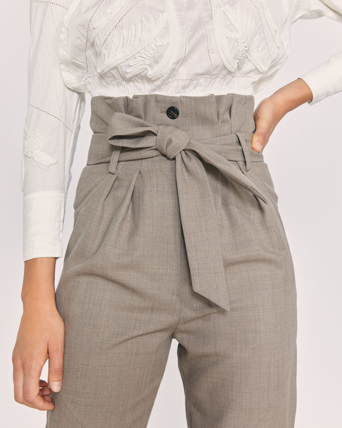 IRO - ALPER PAPERBAG CROPPED TROUSERS TAUPE