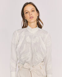 IRO - NARVA LONG SLEEVE EMBROIDERED TOP WHITE