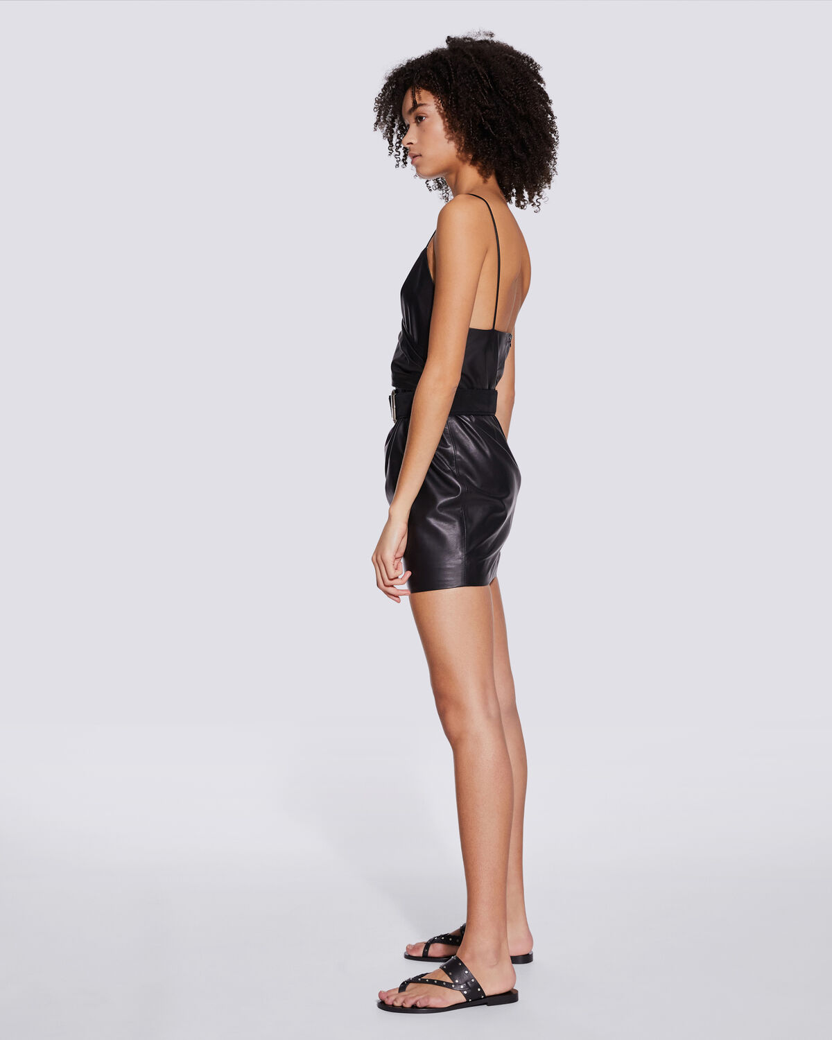 IRO - ZETA THIN STRAPS LEATHER MINI DRESS BLACK