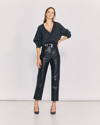 IRO - HEIM STRAIGHT LEG LEATHER TROUSERS BLACK