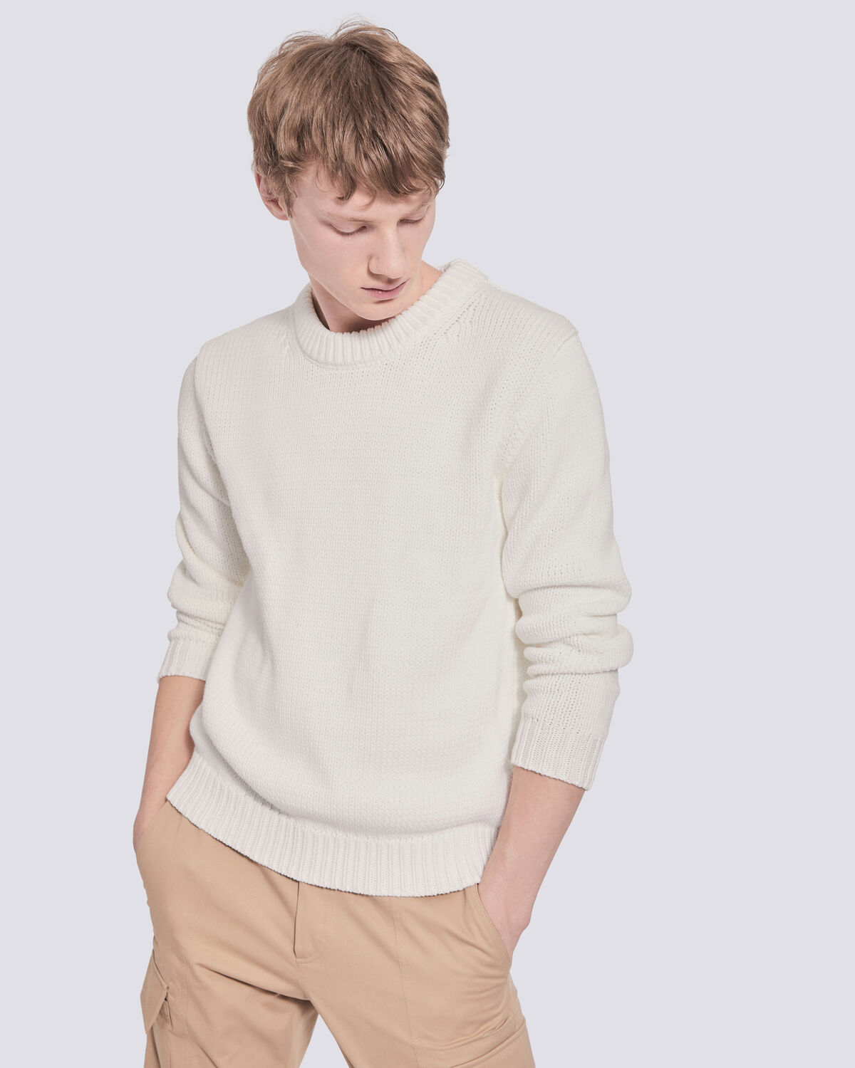 IRO - GADRAS LONG SLEEVE CREW NECK KNIT SWEATER  CHALK