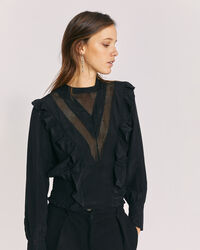 IRO - SUITE SHEER RUFFLE SILK BLOUSE TOP BLACK