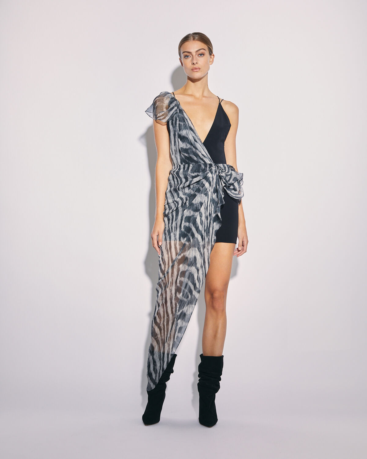 IRO - LUSK ASYMMETRIC ZEBRA PRINT DRESS BLACK ZEBRE WASHED GREY