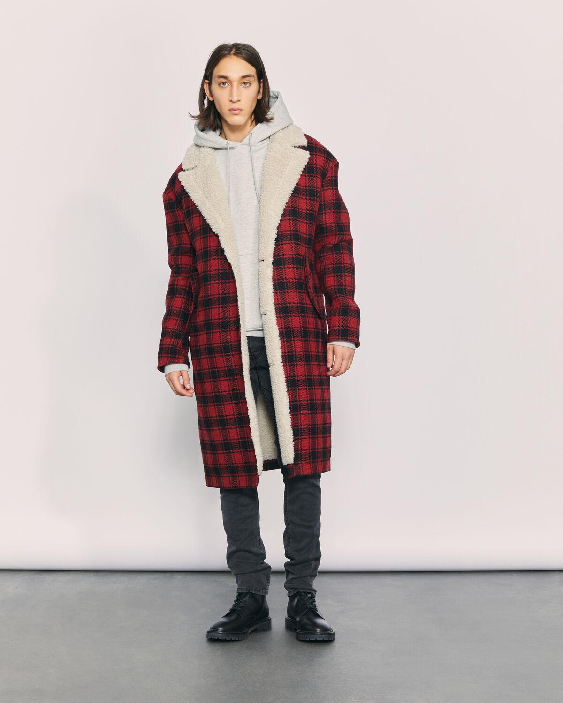 IRO - CURTEE PLAID SHERPA COAT RED/BLACK