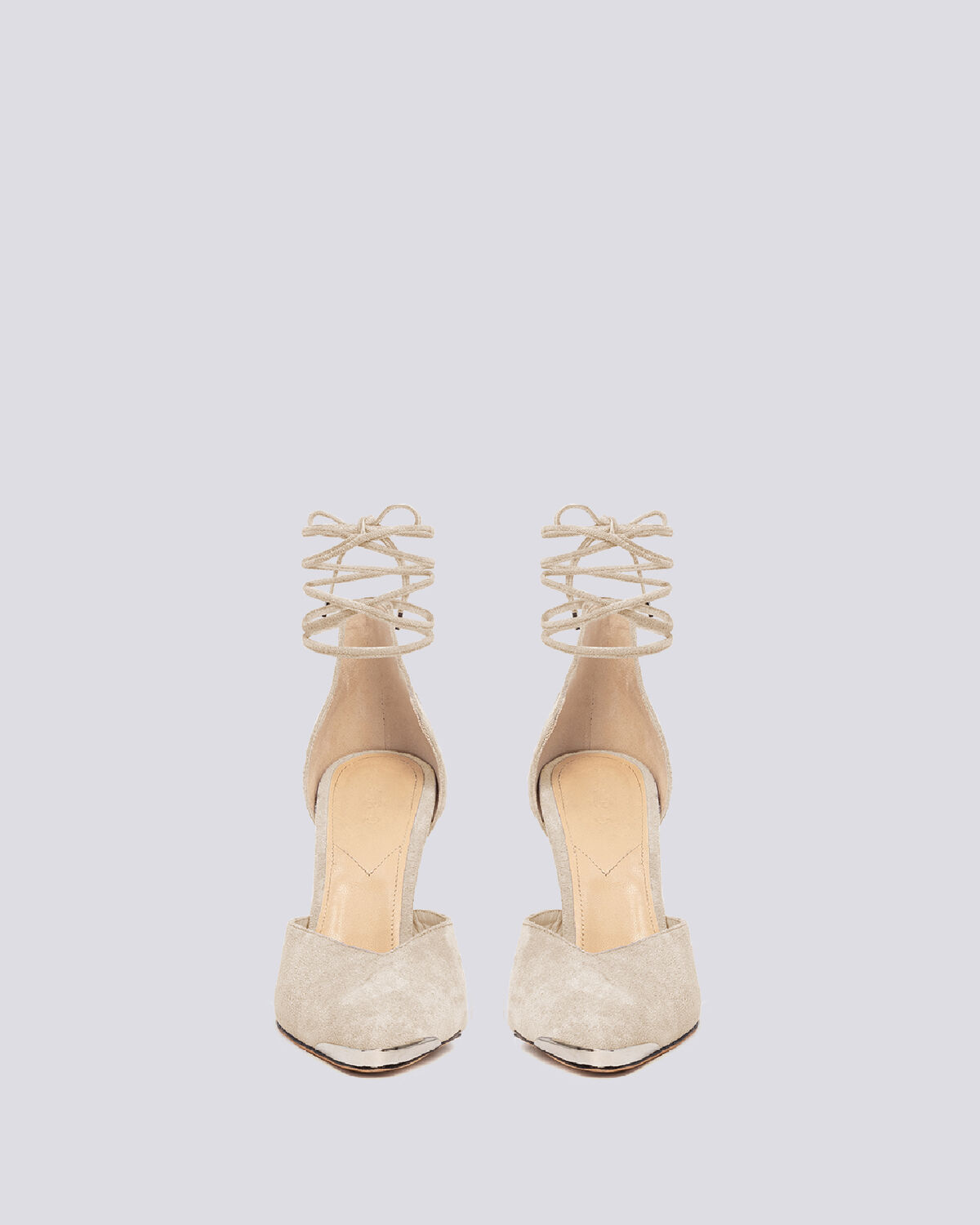 IRO - MIFAL SUEDE POINTED TOE ANKLE TIE PUMPS ECRU