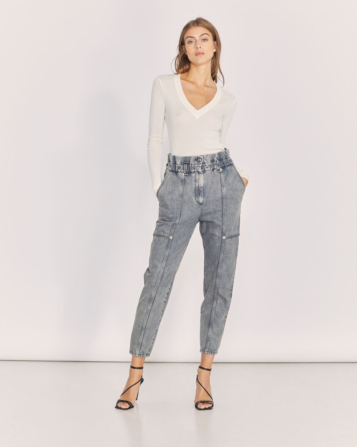 IRO - GOKA RELAXED DENIM TROUSERS SMOKE GREY