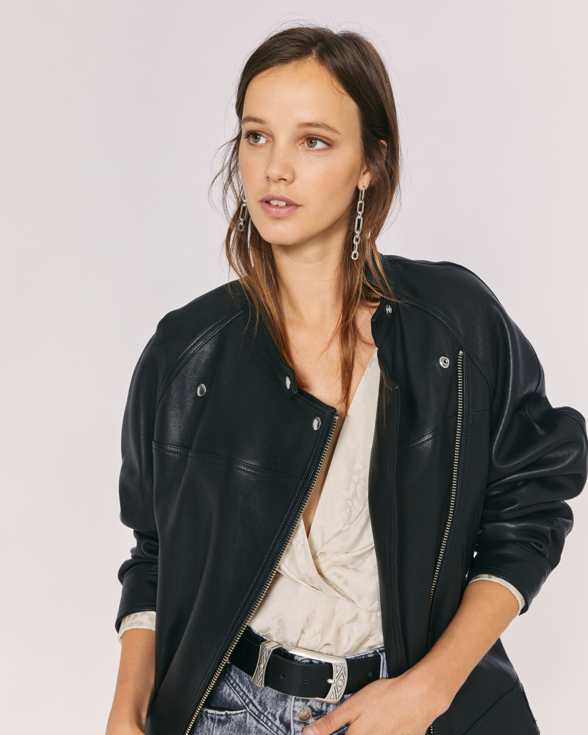 IRO CLEASBY LEATHER JACKET,BLACK