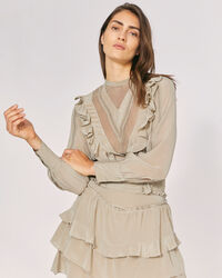 IRO - SUITE SHEER RUFFLE SILK BLOUSE TOP KHAKI