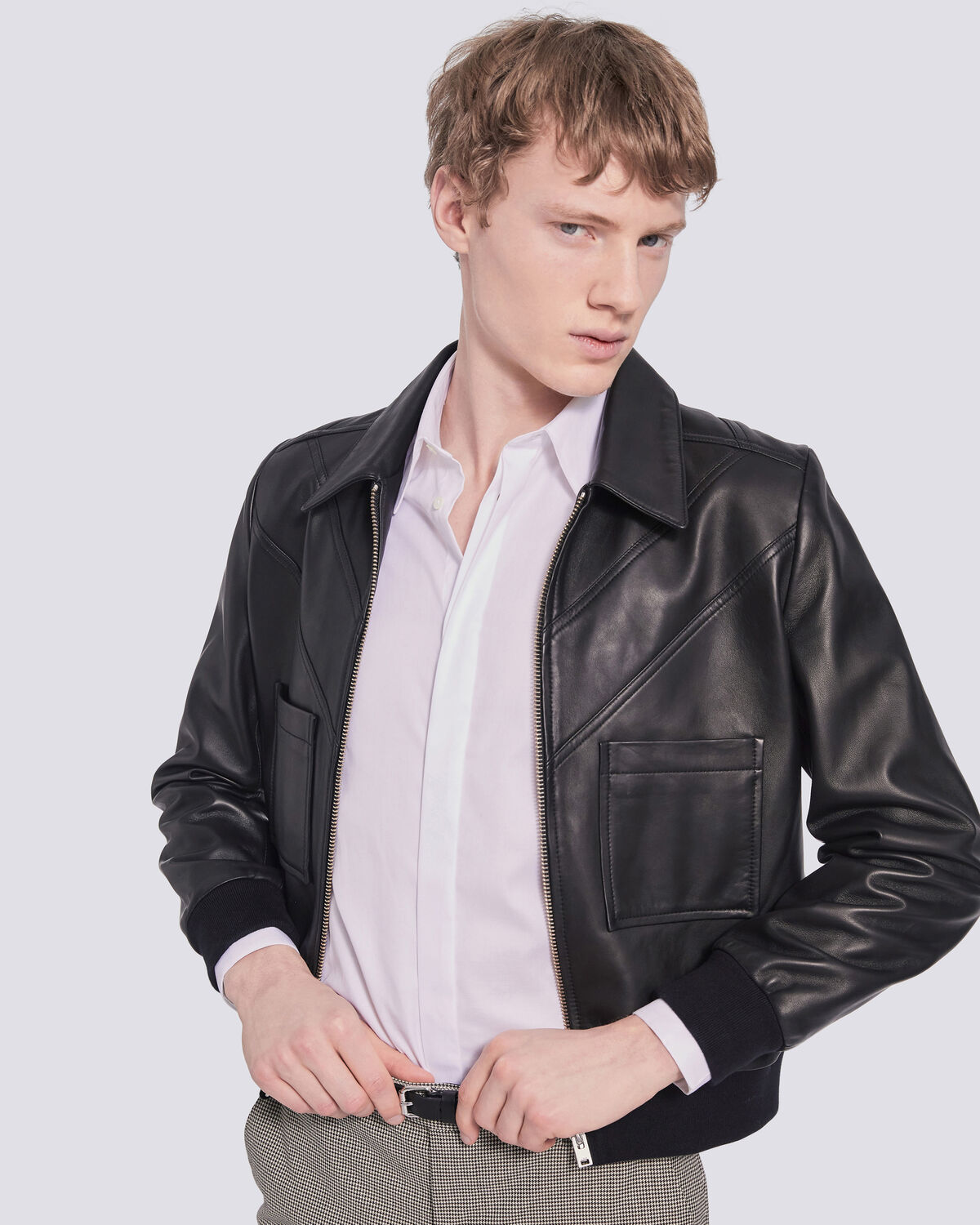 IRO - WILBERT AVIATOR INSPIRED LEATHER JACKET BLACK