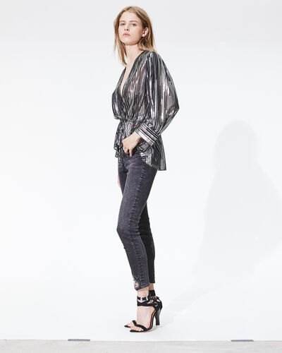 IRO - DARLA TOP BLACK/SILVER