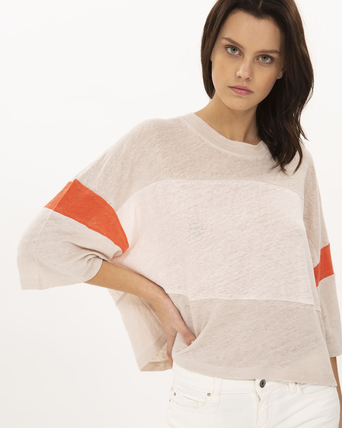Discreet T-Shirt Light Brown And Orange by IRO Paris