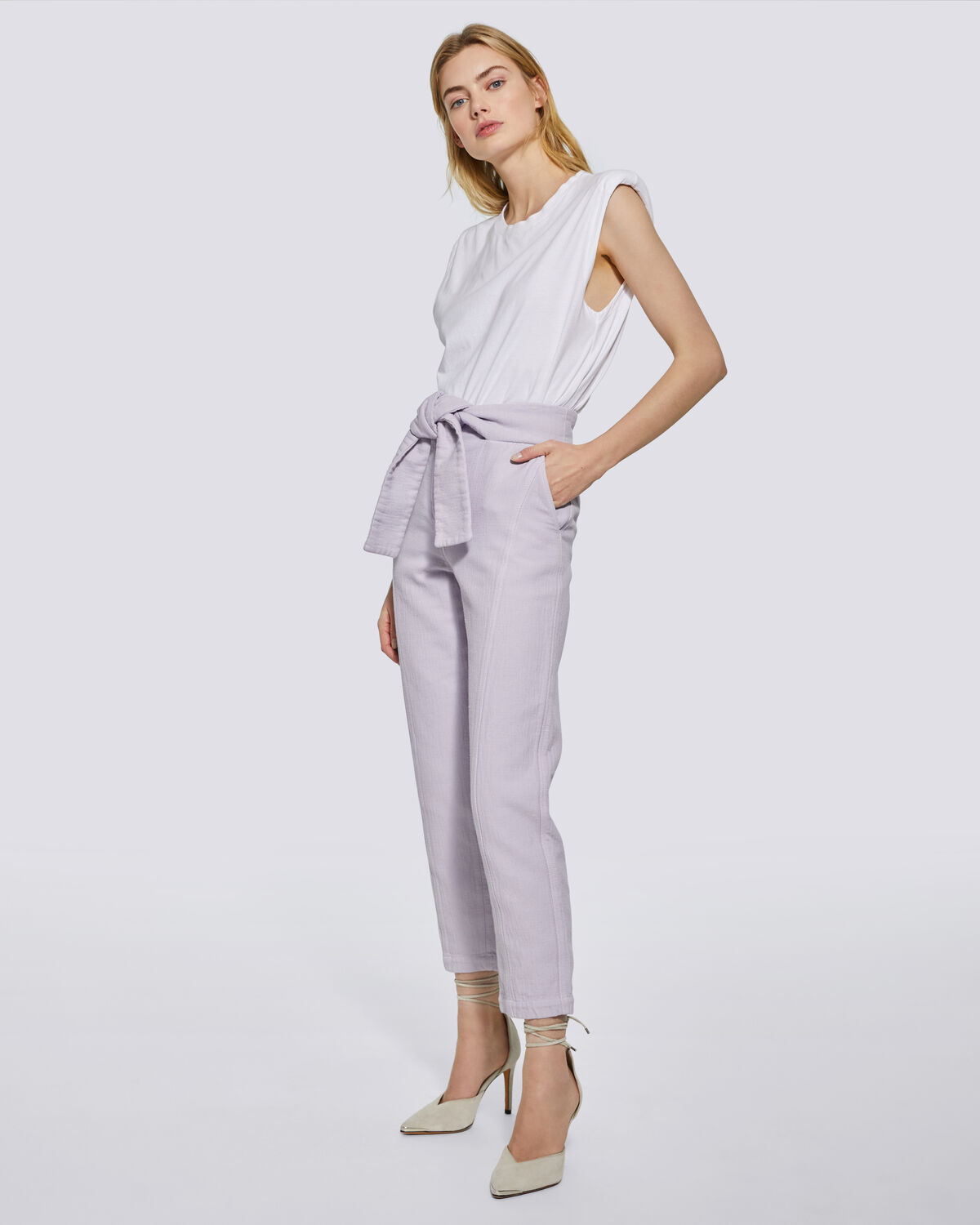IRO - LUKLANE CROPPED PAPERBAG TROUSERS LILAS