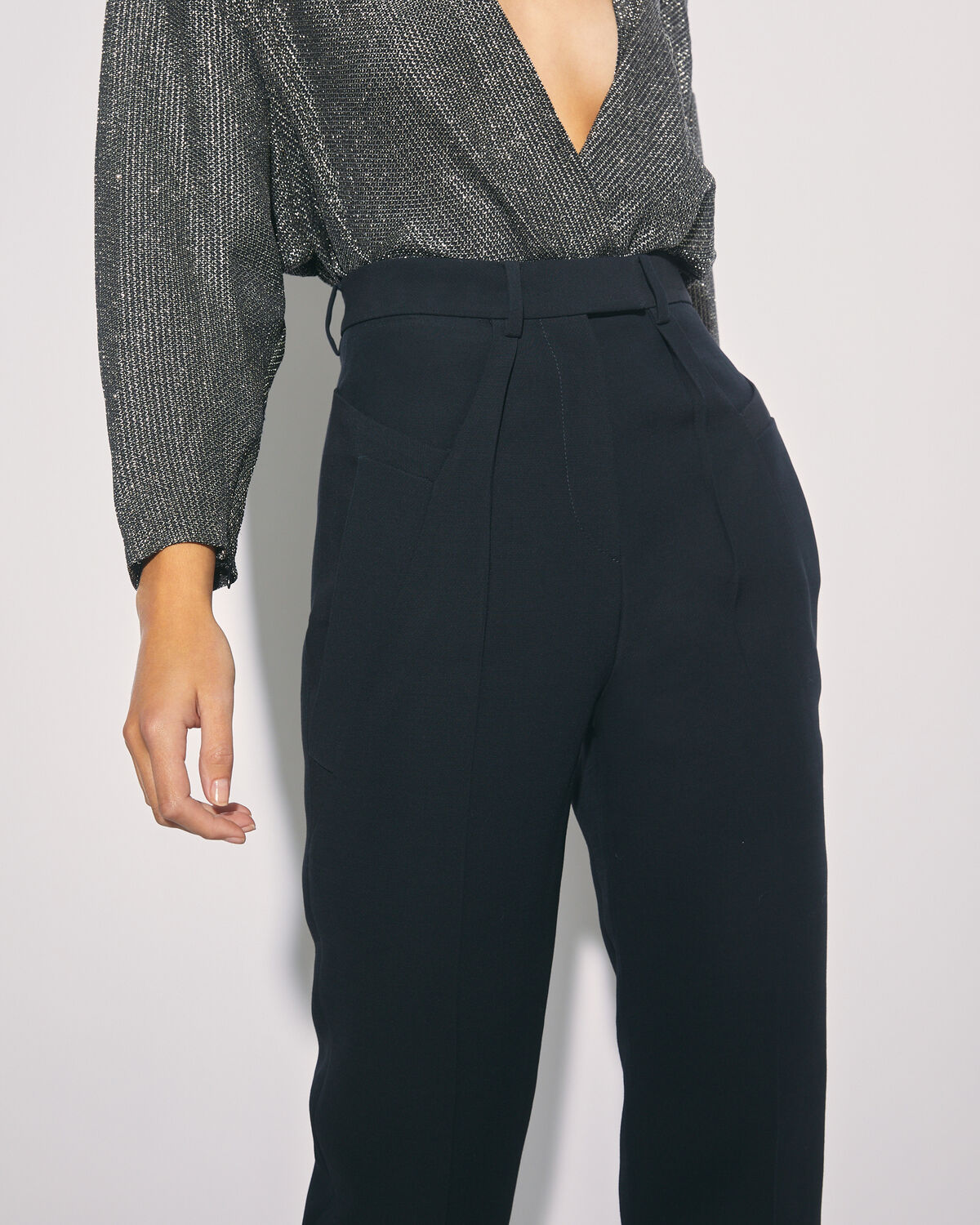 IRO - STOFF HIGH WAIST WOOL TROUSERS BLACK