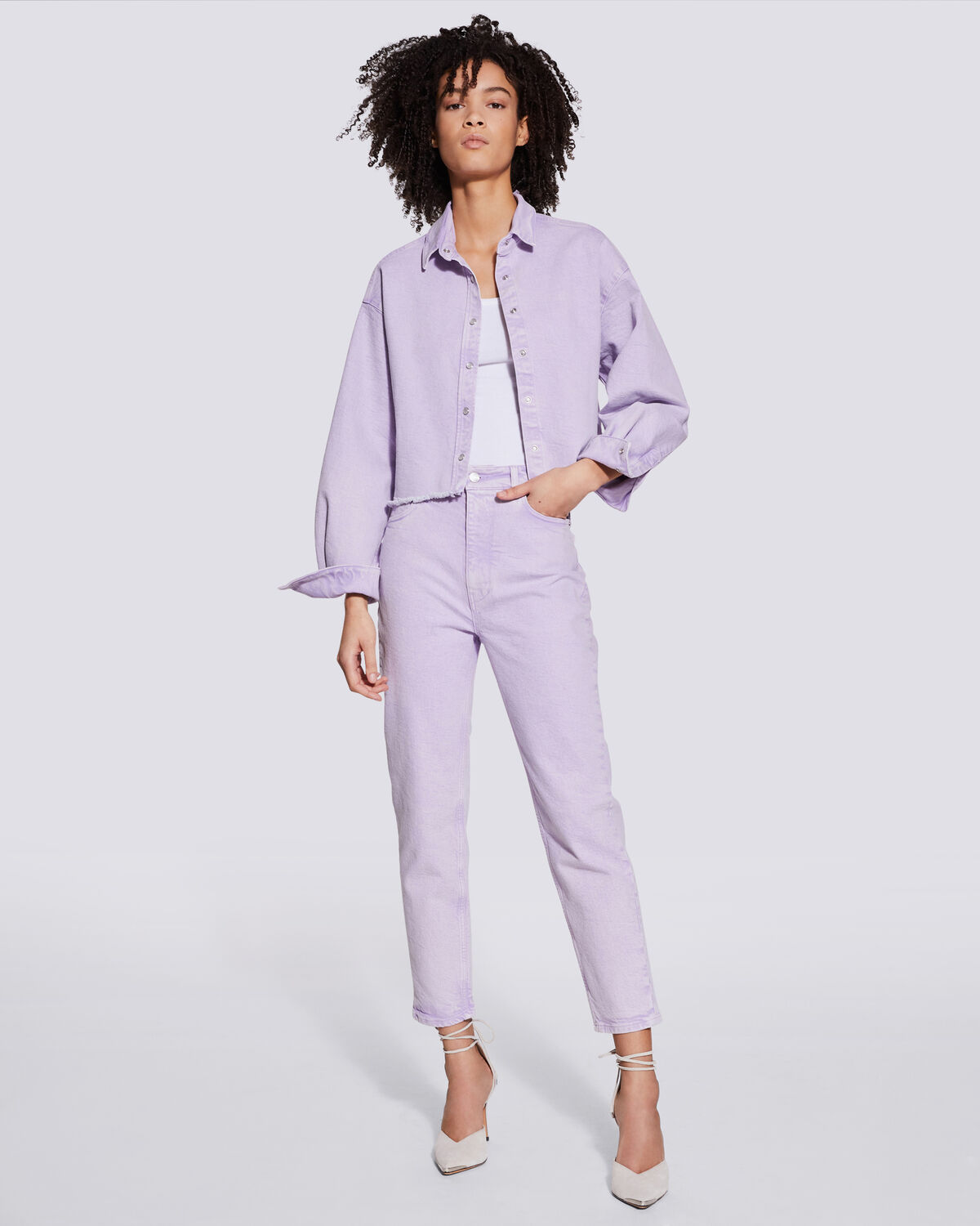 IRO - MILOU OVERSIZED DENIM BUTTON UP SHIRT LILAS