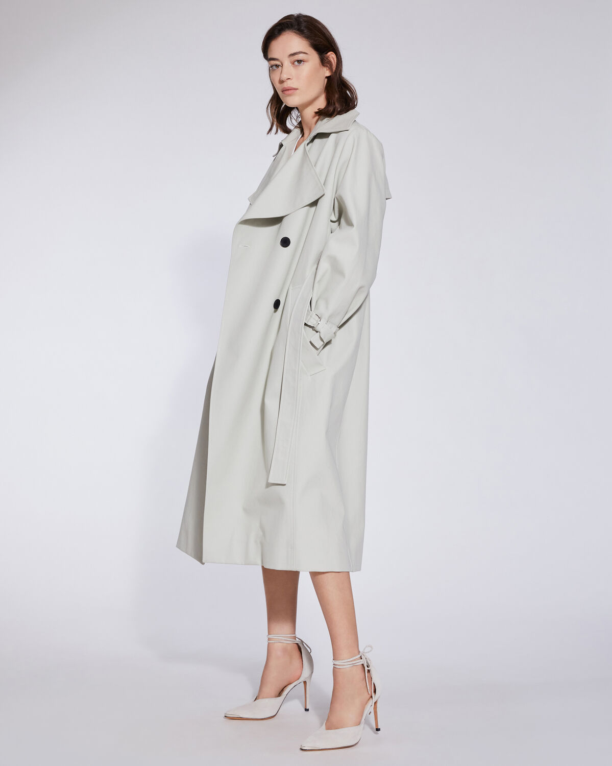IRO - BENOIT DOUBLE BREASTED BELTED TRENCH COAT  MASTIC