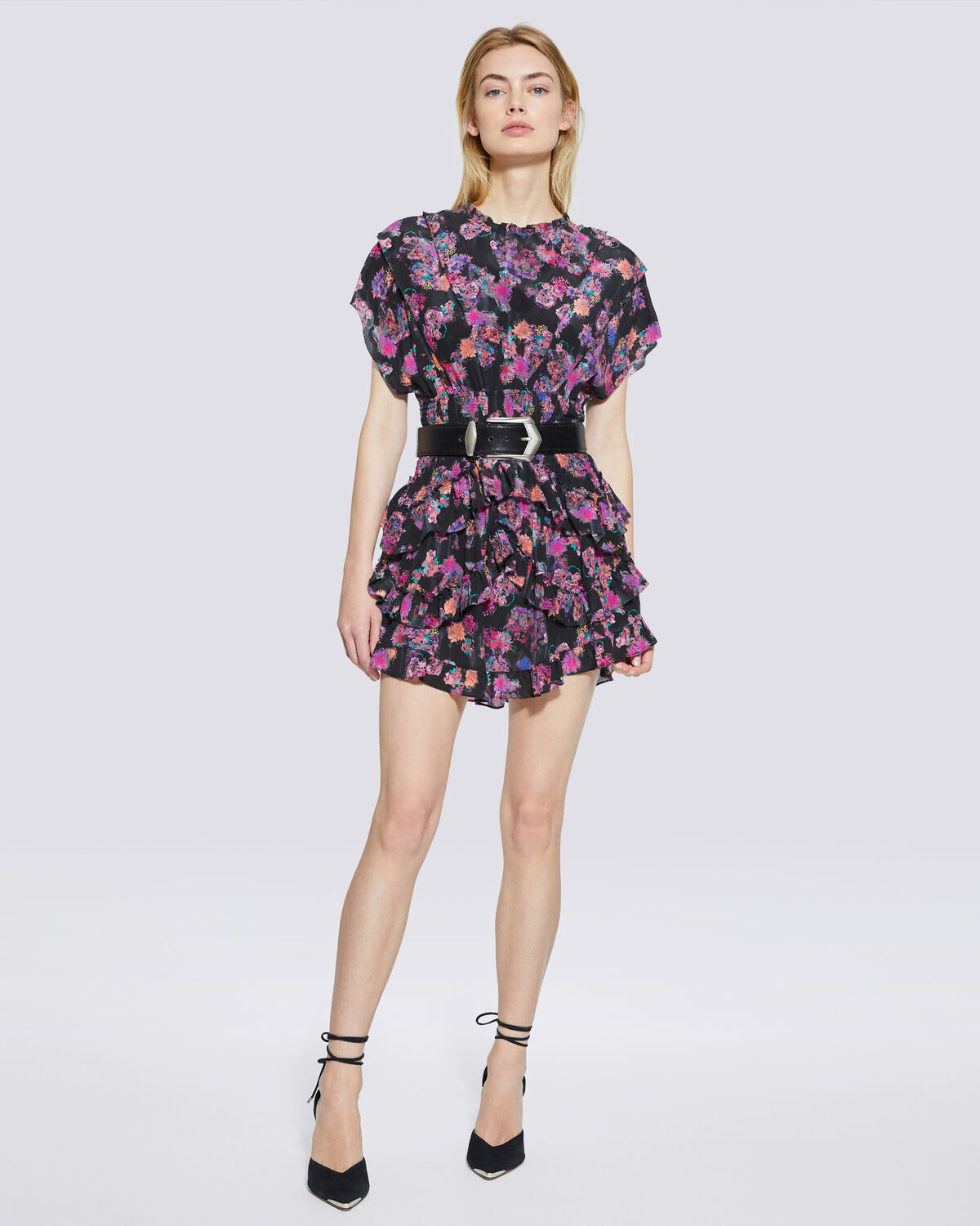 IRO - LAKIE FLORAL PRINT RUFFLE MINI DRESS  BLACK/PINK